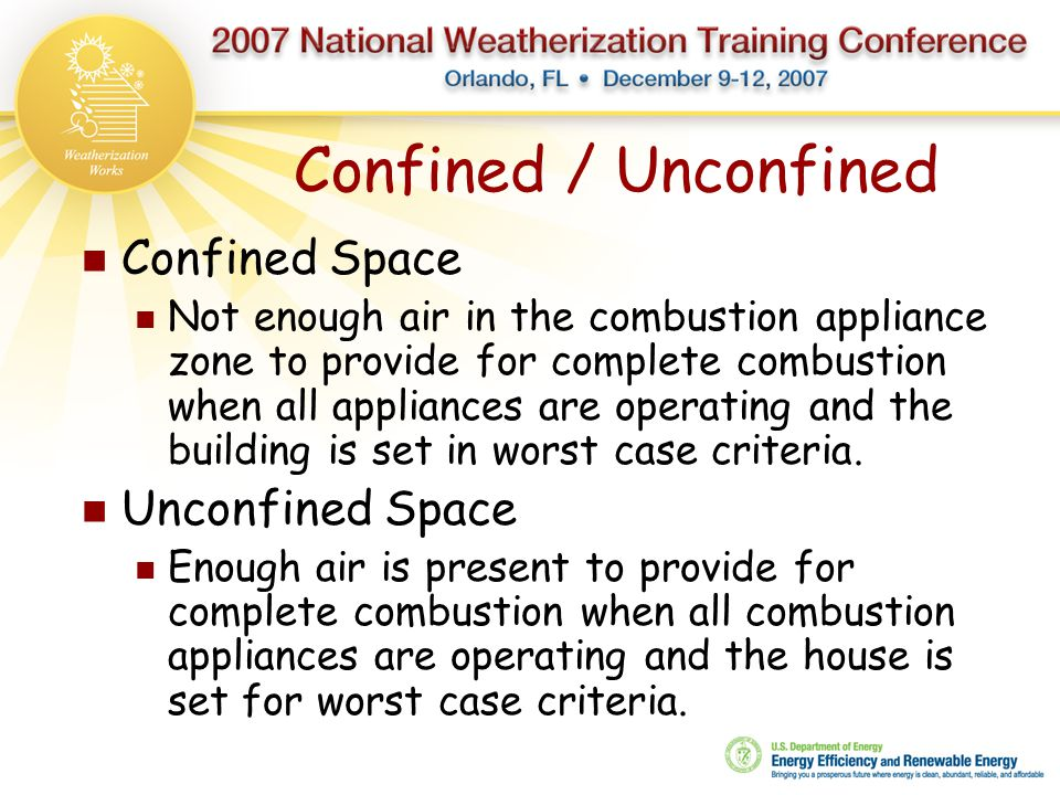 Confined / Unconfined Confined Space Not enough air in the combustion appliance zone to provide for complete combustion when all appliances are operat
