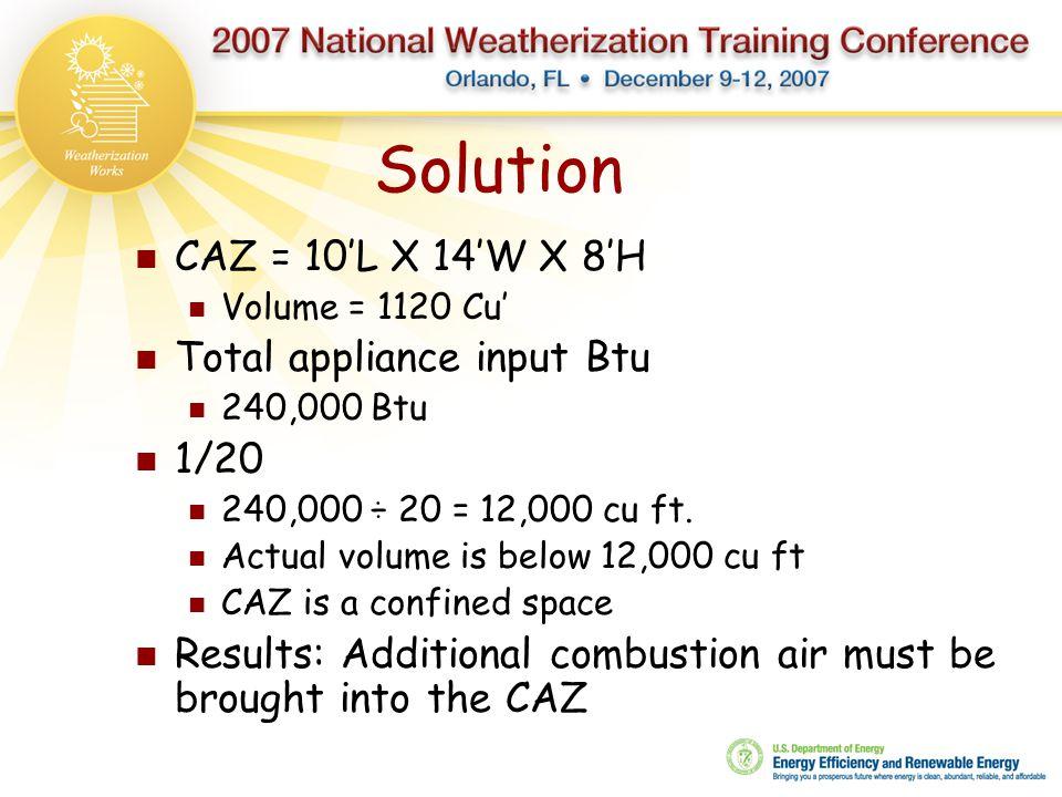 Solution CAZ = 10'L X 14'W X 8'H Volume = 1120 Cu' Total appliance input Btu 240,000 Btu 1/20 240,000 ÷ 20 = 12,000 cu ft. Actual volume is below 12,0
