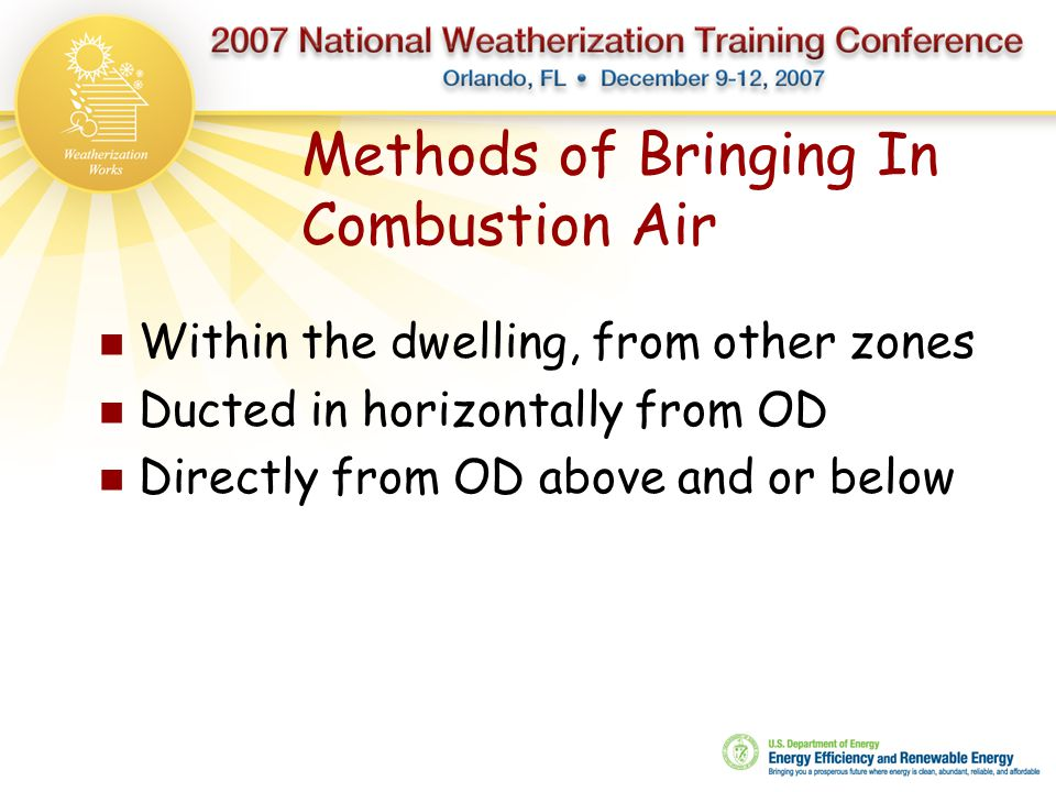 Methods of Bringing In Combustion Air Within the dwelling, from other zones Ducted in horizontally from OD Directly from OD above and or below