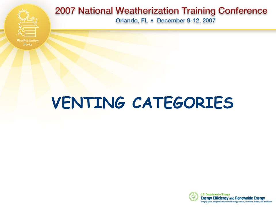 VENTING CATEGORIES