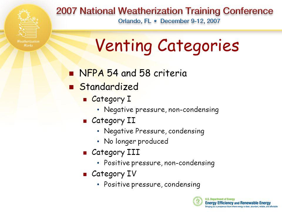 Venting Categories NFPA 54 and 58 criteria Standardized Category I Negative pressure, non-condensing Category II Negative Pressure, condensing No long
