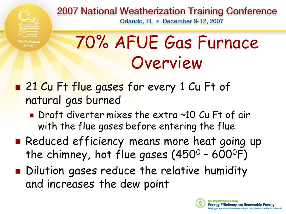 70% AFUE Gas Furnace Overview 21 Cu Ft flue gases for every 1 Cu Ft of natural gas burned Draft diverter mixes the extra ~10 Cu Ft of air with the flu