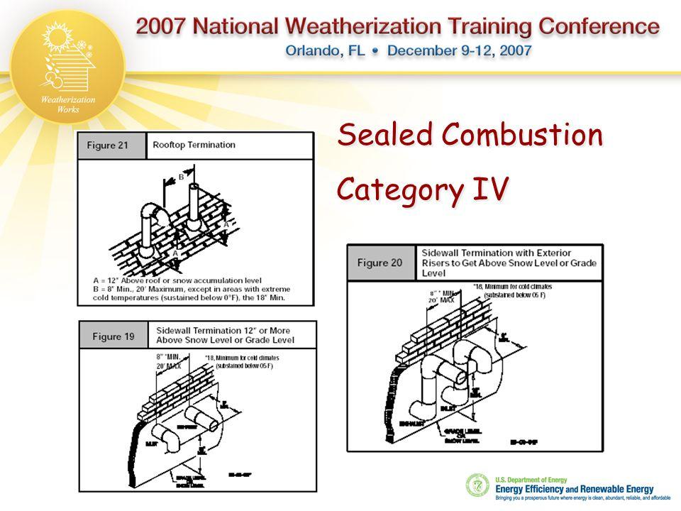 Sealed Combustion Category IV Sealed Combustion Category IV