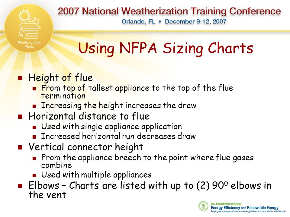 Using NFPA Sizing Charts Height of flue From top of tallest appliance to the top of the flue termination Increasing the height increases the draw Hori
