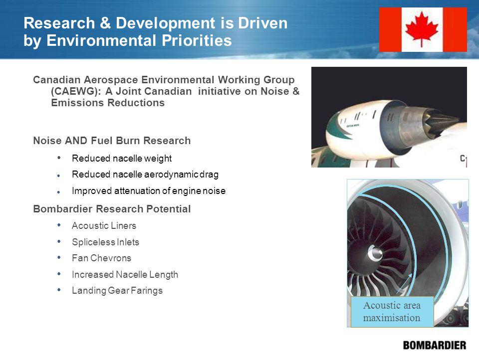 Research & Development is Driven by Environmental Priorities Canadian Aerospace Environmental Working Group (CAEWG): A Joint Canadian initiative on Noise & Emissions Reductions Noise AND Fuel Burn Research Reduced nacelle weight Reduced nacelle aerodynamic drag Improved attenuation of engine noise Bombardier Research Potential Acoustic Liners Spliceless Inlets Fan Chevrons Increased Nacelle Length Landing Gear Farings Acoustic area maximisation