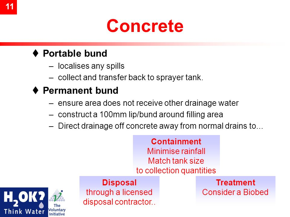 11 Concrete  Portable bund –localises any spills –collect and transfer back to sprayer tank.