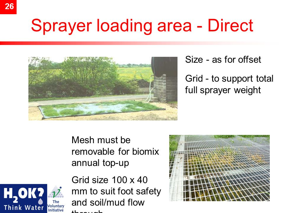 26 Sprayer loading area - Direct Size - as for offset Grid - to support total full sprayer weight Mesh must be removable for biomix annual top-up Grid size 100 x 40 mm to suit foot safety and soil/mud flow through