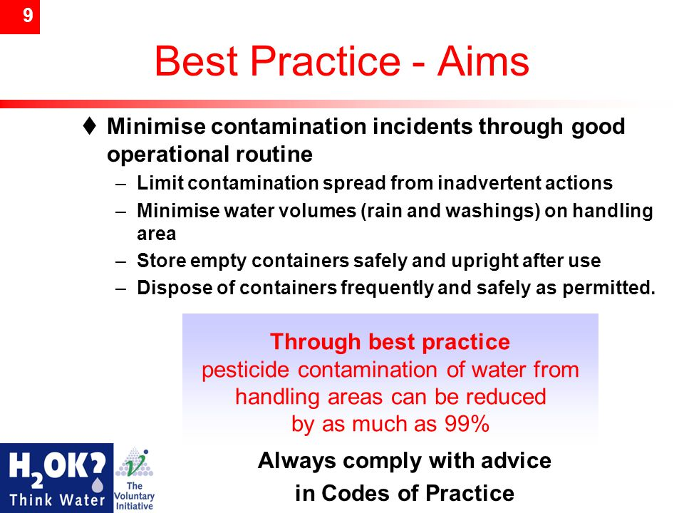 9 Best Practice - Aims  Minimise contamination incidents through good operational routine –Limit contamination spread from inadvertent actions –Minim