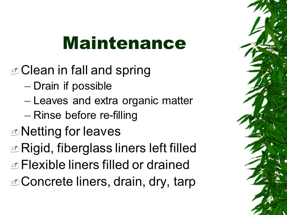 Maintenance  Clean in fall and spring –Drain if possible –Leaves and extra organic matter –Rinse before re-filling  Netting for leaves  Rigid, fiberglass liners left filled  Flexible liners filled or drained  Concrete liners, drain, dry, tarp