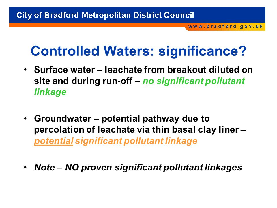 Controlled Waters: significance.
