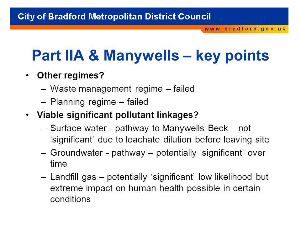 Part IIA & Manywells – key points Other regimes.