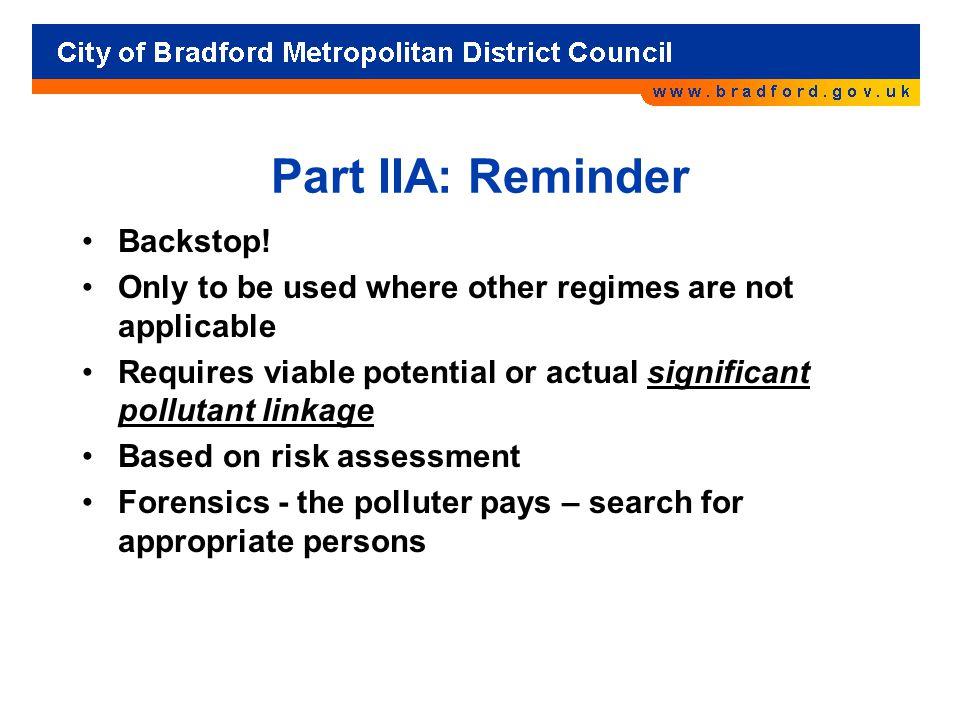Part IIA: Reminder Backstop.