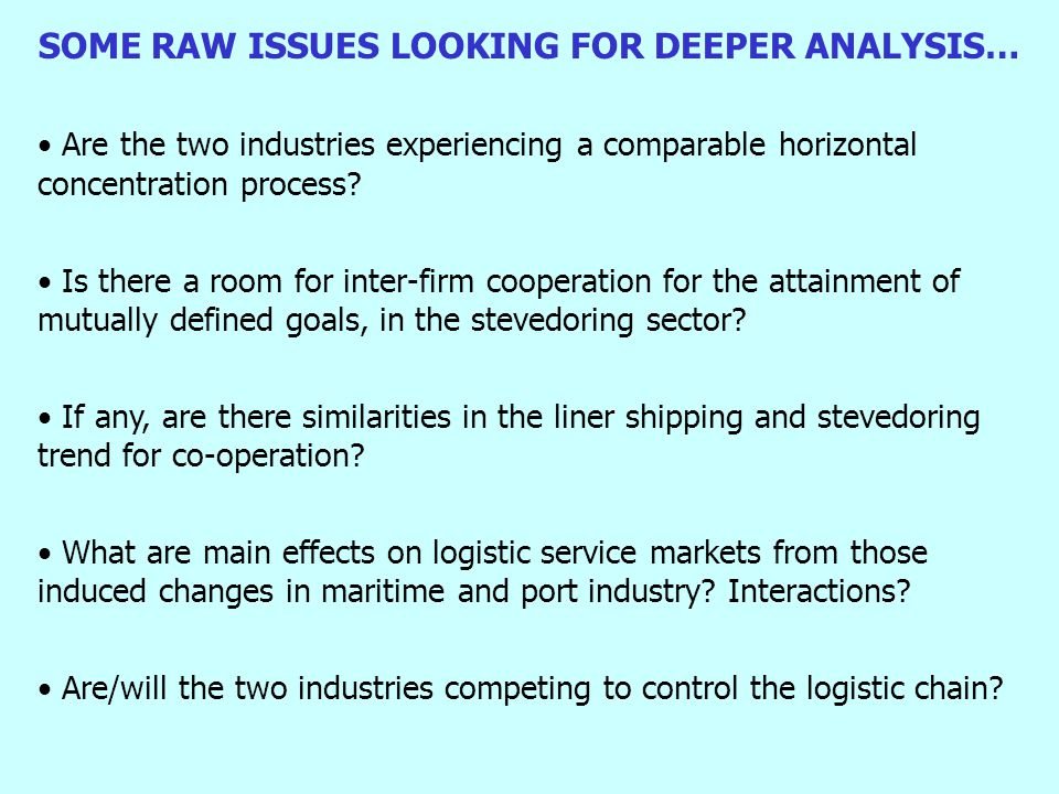 SOME RAW ISSUES LOOKING FOR DEEPER ANALYSIS… Are the two industries experiencing a comparable horizontal concentration process.