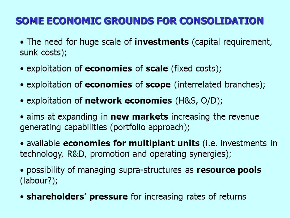 SOME ECONOMIC GROUNDS FOR CONSOLIDATION The need for huge scale of investments (capital requirement, sunk costs); exploitation of economies of scale (fixed costs); exploitation of economies of scope (interrelated branches); exploitation of network economies (H&S, O/D); aims at expanding in new markets increasing the revenue generating capabilities (portfolio approach); available economies for multiplant units (i.e.