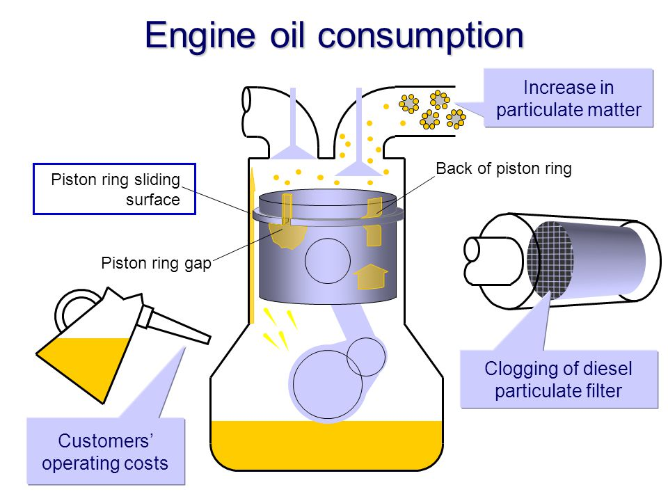 Engine oil consumption Customers' operating costs Clogging of diesel particulate filter Piston ring sliding surface Piston ring gap Back of piston ring Increase in particulate matter