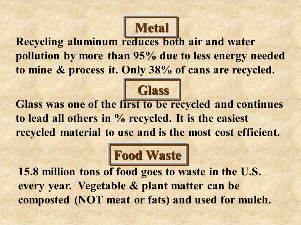 Metal Recycling aluminum reduces both air and water pollution by more than 95% due to less energy needed to mine & process it.