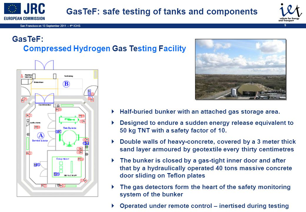 San Francisco on 13 September 2011 – 4 th ICHS 5 GasTeF: Compressed Hydrogen Gas Testing Facility  Half-buried bunker with an attached gas storage area.