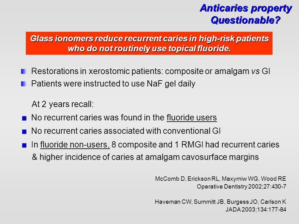 McComb D, Erickson RL, Maxymiw WG, Wood RE Operative Dentistry 2002;27:430-7 Restorations in xerostomic patients: composite or amalgam vs GI Patients