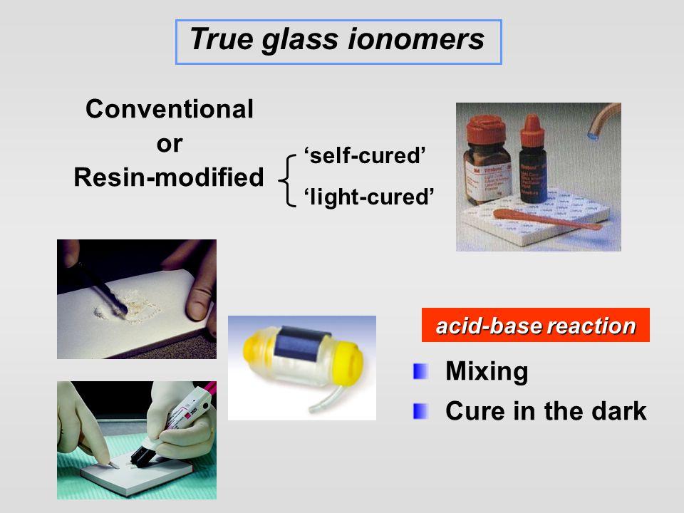 Glass ionomer cement Resin-modified GI Resin composite Polyacid-modified composite (compomer) True glass ionomers 'Hybrid ionomer composite' (Geristore) 'Giomer ' (Wilson & Kent 1972) (Bowen 1963)