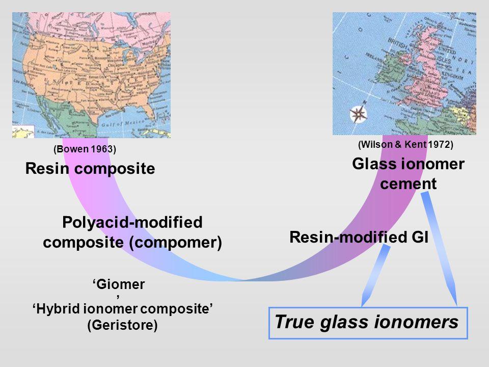 Glass ionomer cement Resin-modified GI Resin composite Polyacid-modified composite (compomer) True glass ionomers 'Hybrid ionomer composite' (Geristor
