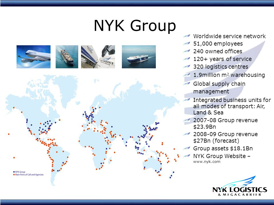 NYK Group Worldwide service network 51,000 employees 240 owned offices 120+ years of service 320 logistics centres 1.9million m 2 warehousing Global supply chain management Integrated business units for all modes of transport: Air, Land & Sea 2007-08 Group revenue $23.9Bn 2008-09 Group revenue $27Bn (forecast) Group assets $18.1Bn NYK Group Website – www.nyk.com