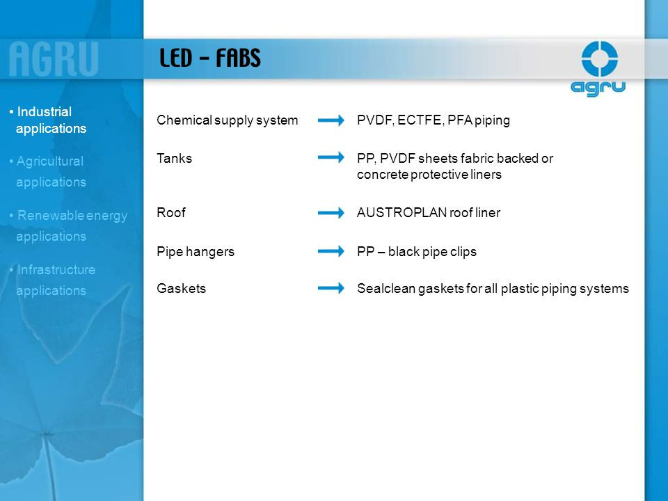 LED - FABS Chemical supply systemPVDF, ECTFE, PFA piping TanksPP, PVDF sheets fabric backed or concrete protective liners RoofAUSTROPLAN roof liner Pi