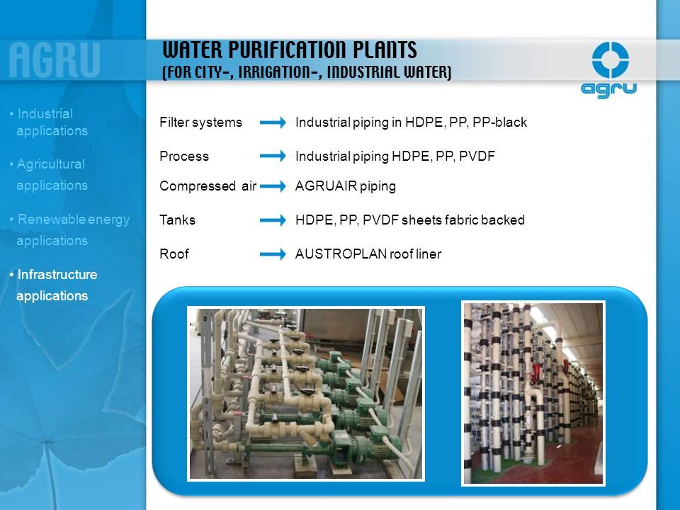 WATER PURIFICATION PLANTS (FOR CITY-, IRRIGATION-, INDUSTRIAL WATER) Filter systemsIndustrial piping in HDPE, PP, PP-black ProcessIndustrial piping HD