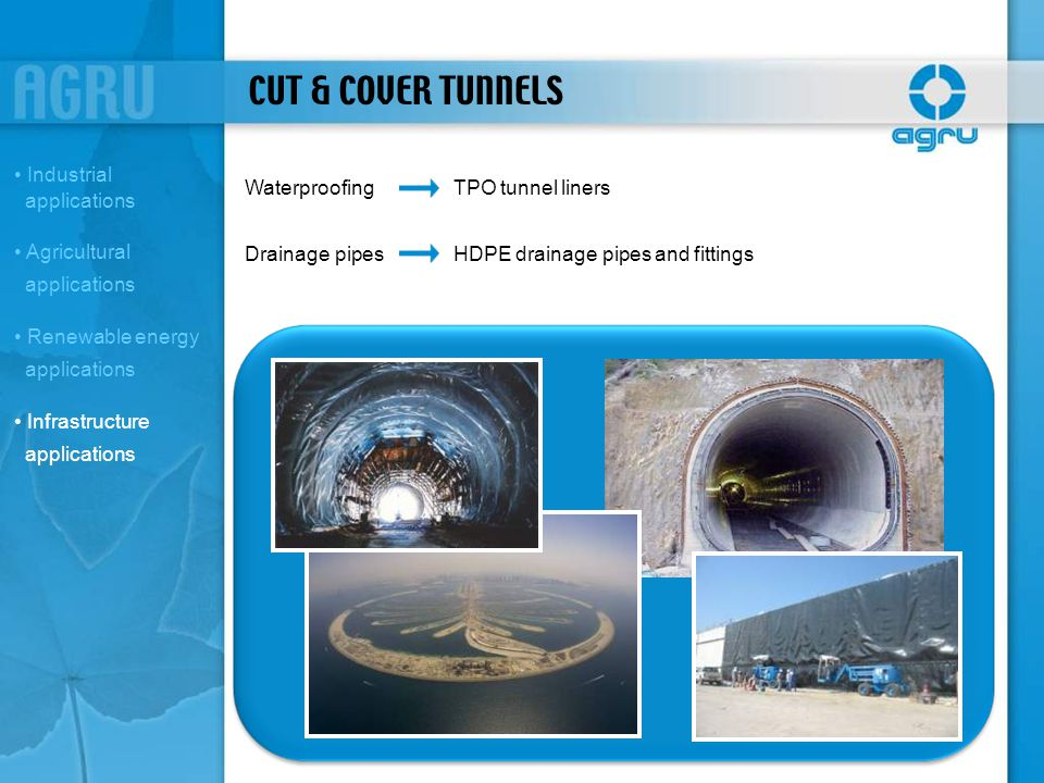 CUT & COVER TUNNELS WaterproofingTPO tunnel liners Drainage pipesHDPE drainage pipes and fittings Industrial applications Agricultural applications Re