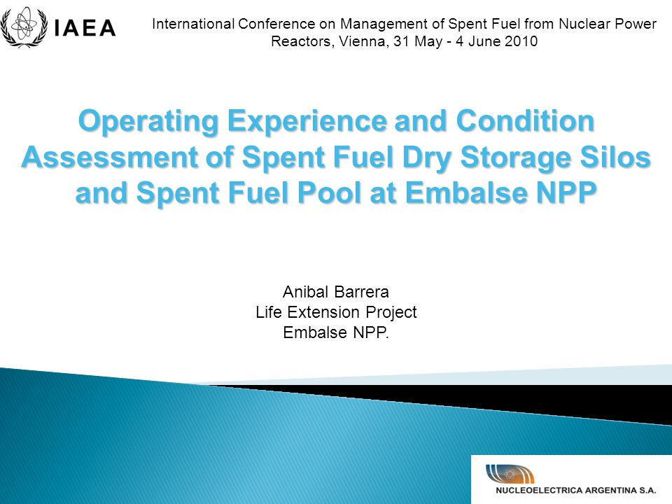  Spent Fuel Dry Storage Silos at Embalse NPP  In Service Inspection Program (ISI)  Condition Assessment ◦ Degradation mechanism ◦ Evaluation procedures  Conclusions and future tasks  Spent Fuel Pool CONTENTS