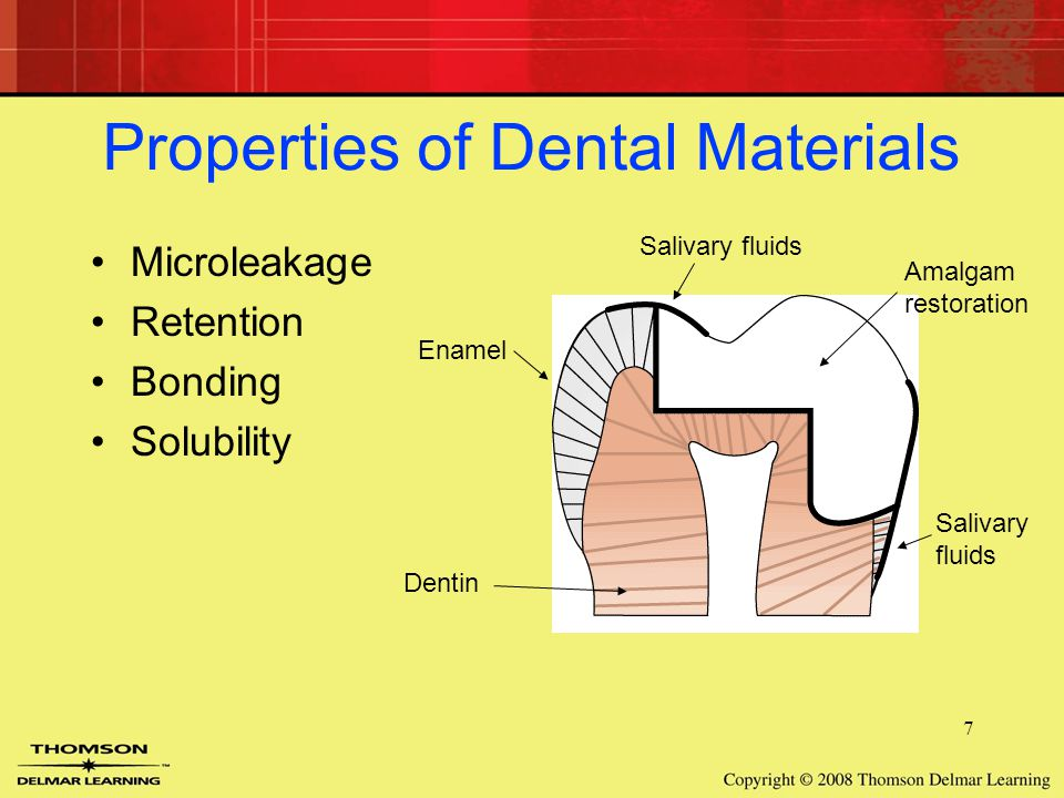 7 Properties of Dental Materials Microleakage Retention Bonding Solubility Enamel Dentin Salivary fluids Amalgam restoration Salivary fluids