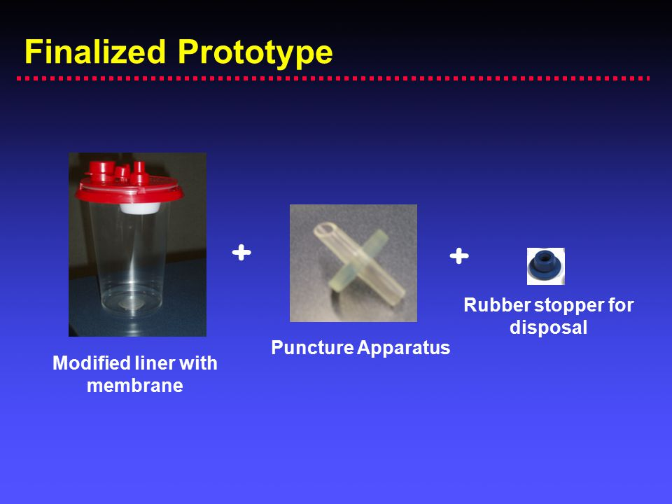 Finalized Prototype Modified liner with membrane Puncture Apparatus Rubber stopper for disposal + +