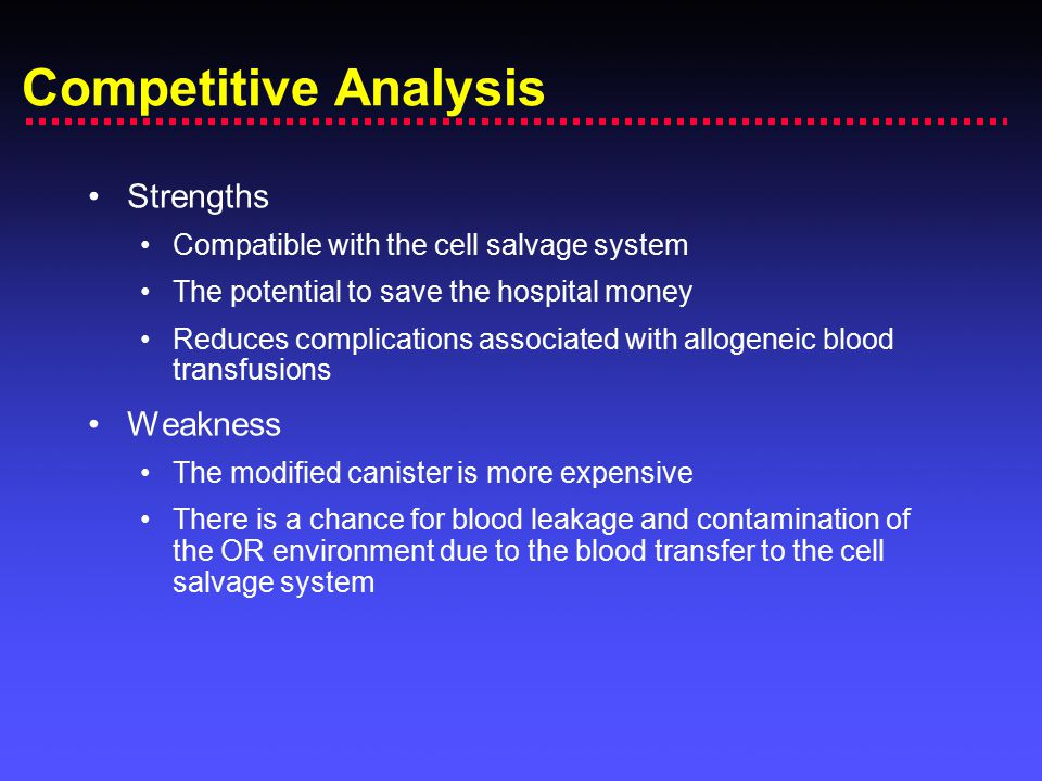 Competitive Analysis Strengths Compatible with the cell salvage system The potential to save the hospital money Reduces complications associated with