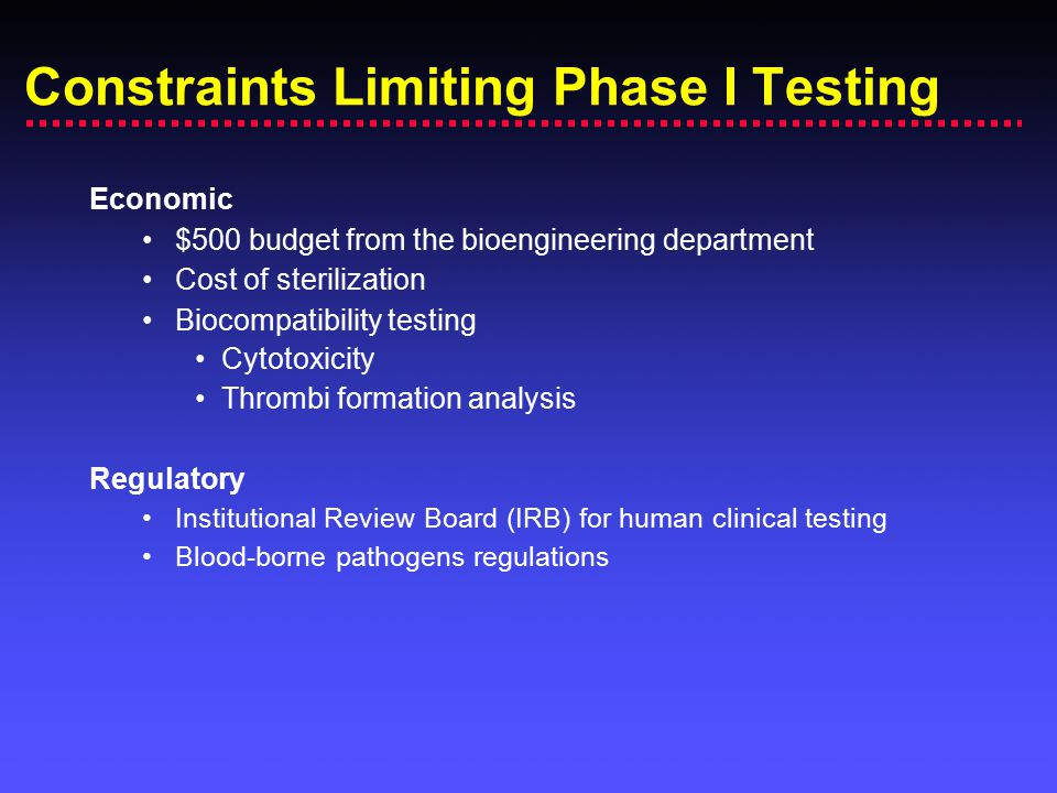 Constraints Limiting Phase I Testing Economic $500 budget from the bioengineering department Cost of sterilization Biocompatibility testing Cytotoxici