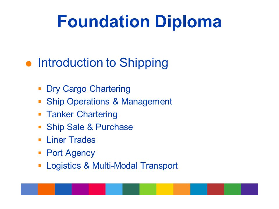 Foundation Diploma  Introduction to Shipping  Dry Cargo Chartering  Ship Operations & Management  Tanker Chartering  Ship Sale & Purchase  Liner