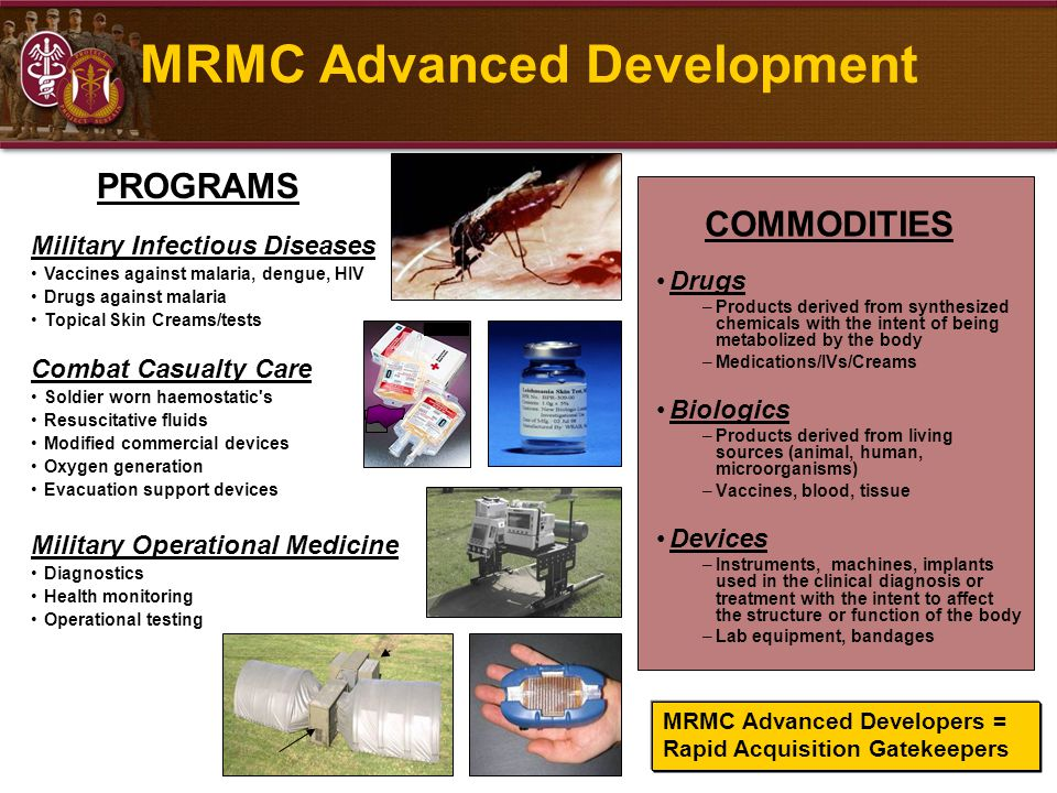 MRMC Advanced Development Drugs –Products derived from synthesized chemicals with the intent of being metabolized by the body –Medications/IVs/Creams