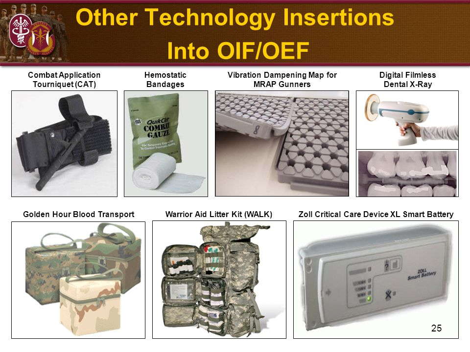 25 Combat Application Tourniquet (CAT) Golden Hour Blood Transport Digital Filmless Dental X-Ray Other Technology Insertions Into OIF/OEF Vibration Da