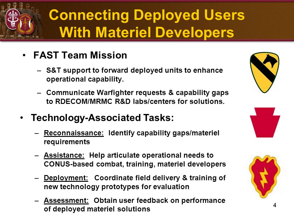 4 Connecting Deployed Users With Materiel Developers FAST Team Mission –S&T support to forward deployed units to enhance operational capability. –Comm