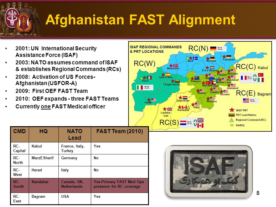 8 Afghanistan FAST Alignment 2001: UN International Security Assistance Force (ISAF) 2003: NATO assumes command of ISAF & establishes Regional Command