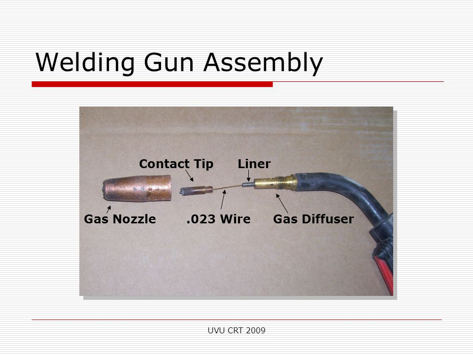 Welding Gun Assembly Gas Nozzle Contact Tip.023 Wire Liner Gas Diffuser UVU CRT 2009