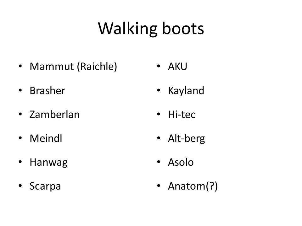 Walking boots Mammut (Raichle) Brasher Zamberlan Meindl Hanwag Scarpa AKU Kayland Hi-tec Alt-berg Asolo Anatom(?)