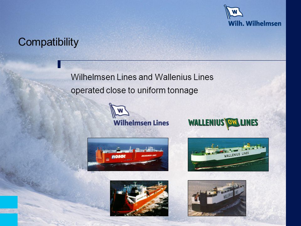 Compatibility Wilhelmsen Lines and Wallenius Lines operated close to uniform tonnage