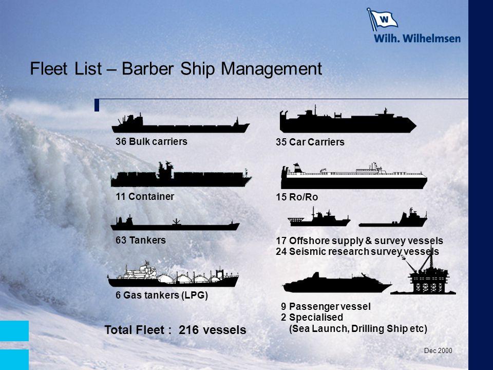Fleet List – Barber Ship Management 35 Car Carriers 15 Ro/Ro 17 Offshore supply & survey vessels 24 Seismic research survey vessels 9 Passenger vessel