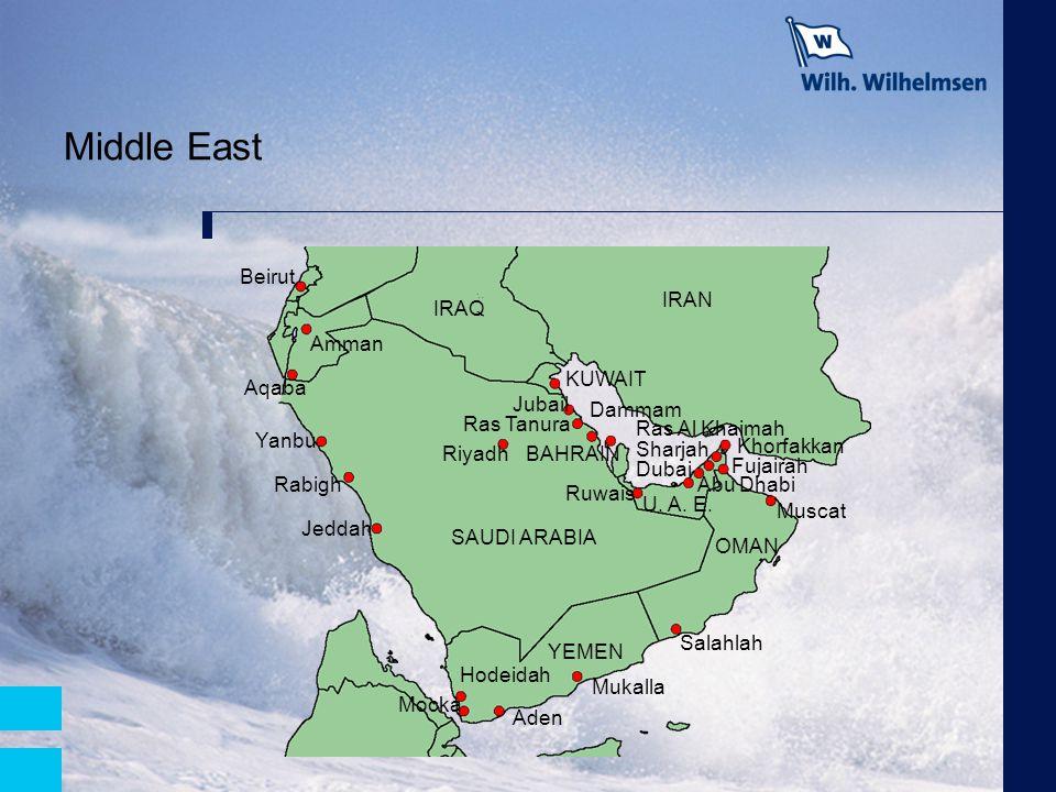 Middle East Mocka IRAQ SAUDI ARABIA IRAN OMAN YEMEN U. A. E. KUWAIT BAHRAIN Ruwais Ras Al Khaimah Fujairah Sharjah Khorfakkan Mukalla Salahlah Muscat