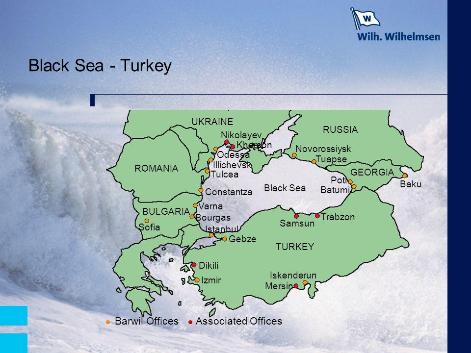 Black Sea - Turkey UKRAINE RUSSIA GEORGIA TURKEY BULGARIA ROMANIA Black Sea Poti Sofia Baku Tulcea Gebze Dikili Kherson Nikolayev Samsun Trabzon Batum