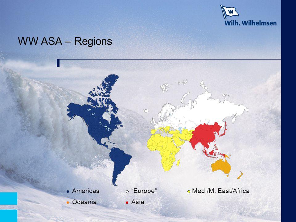 """WW ASA – Regions Americas""""Europe"""" Med./M. East/Africa OceaniaAsia"""