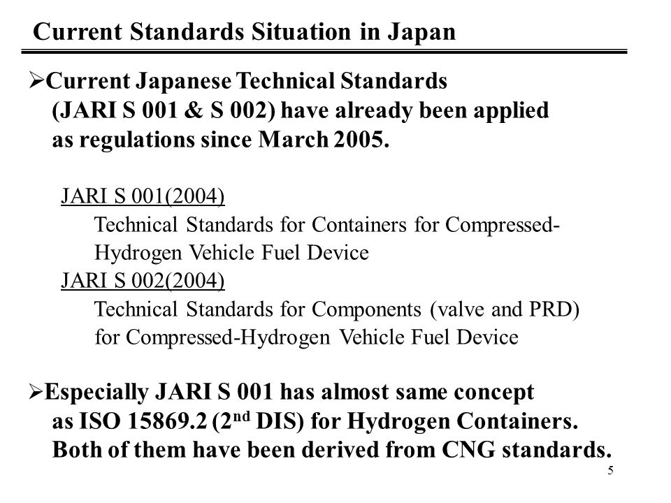 6 Current Japanese CNG regulations These are called KHK Reiji-kijun Betten No.9 & 10 VH3(Type3) : Metal liner and full-rap CFRP VH4(Type4) : Plastic liner and full-rap CFRP Kind of filling gas : Natural Gas > Hydrogen Maximum Filling pressure : 26MPa > 35MPa - Selection of available material at 35MPa Hydrogen - Demonstration test - Harmonization with international standards Premises of Discussion