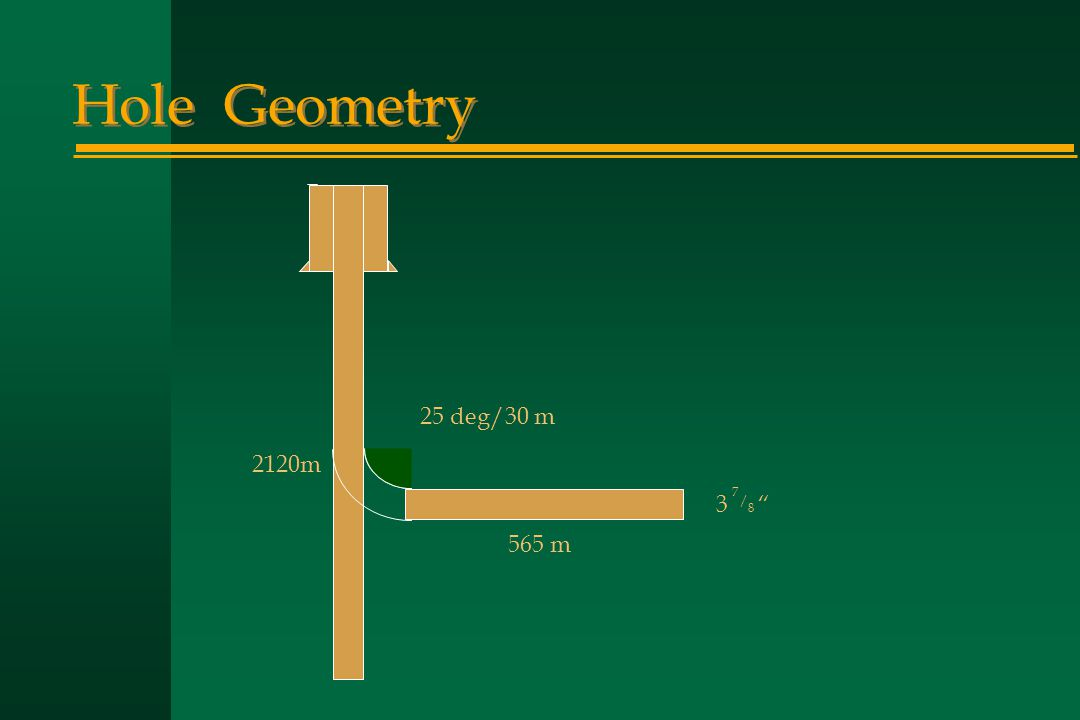 "Hole Geometry 565 m 2120m 25 deg/30 m 3 "" 7 / 8"