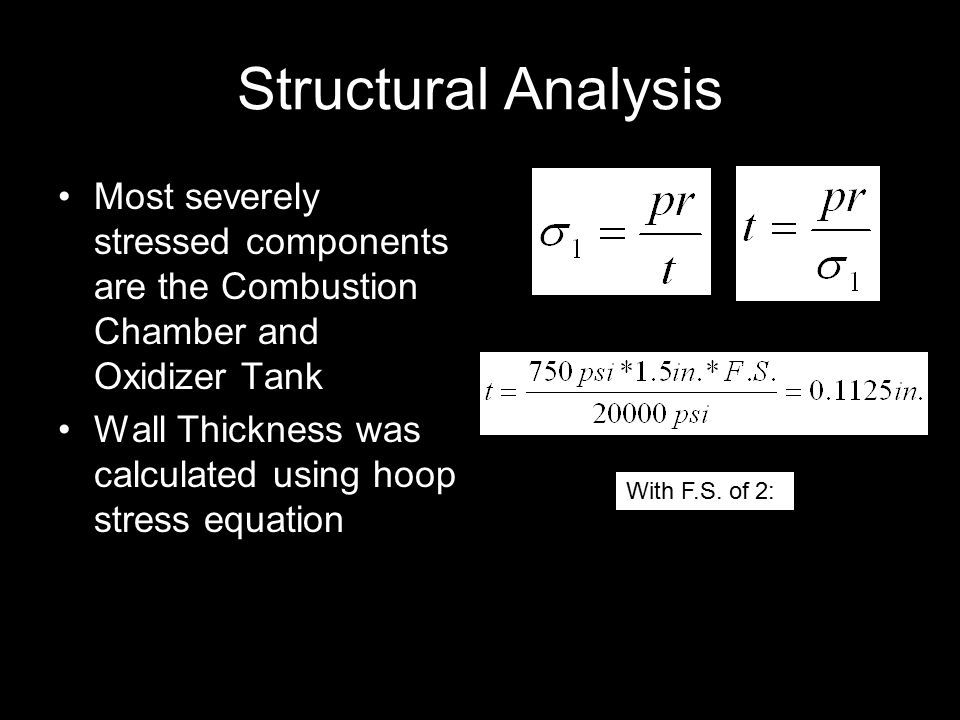 Structural Analysis Most severely stressed components are the Combustion Chamber and Oxidizer Tank Wall Thickness was calculated using hoop stress equation With F.S.