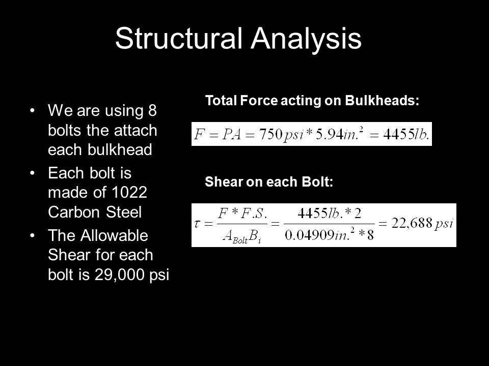 Structural Analysis We are using 8 bolts the attach each bulkhead Each bolt is made of 1022 Carbon Steel The Allowable Shear for each bolt is 29,000 psi Shear on each Bolt: Total Force acting on Bulkheads: