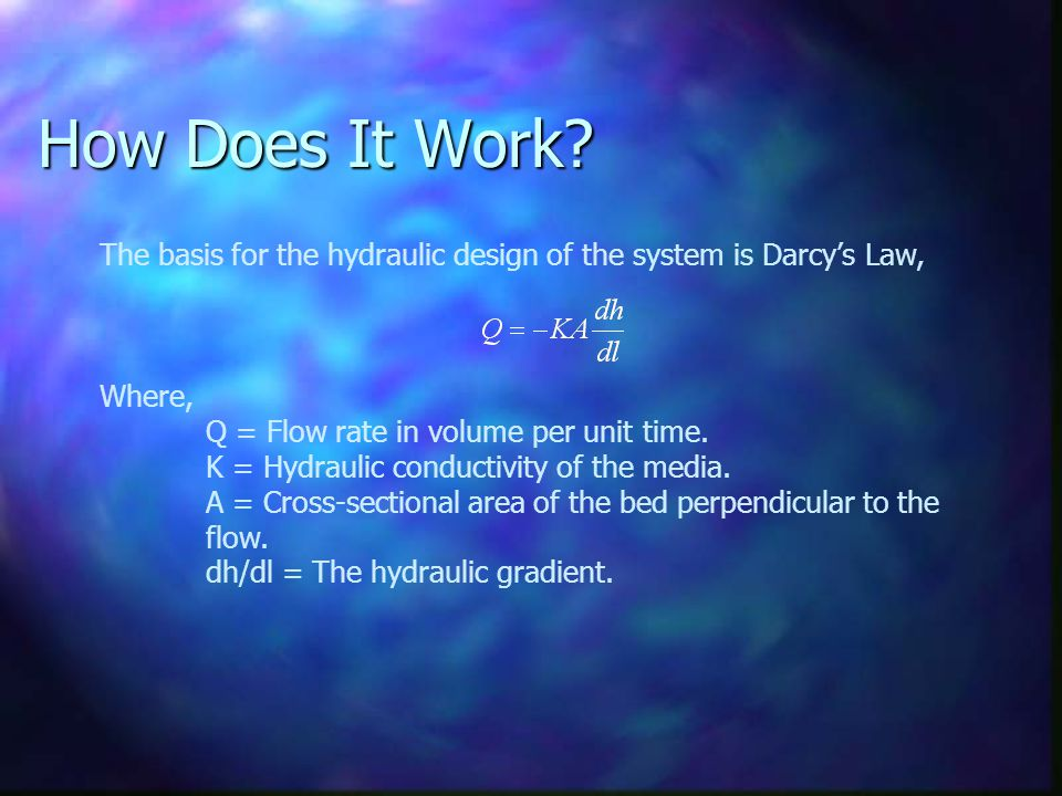 How Does It Work? The basis for the hydraulic design of the system is Darcy's Law, Where, Q = Flow rate in volume per unit time. K = Hydraulic conduct